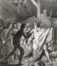 Don Quijote sueña que se halla en batalla con un Gigante y rompe unos pellejos de vino