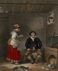 Sancho Panza sentado junto a su esposa Teresa, y una barrica
