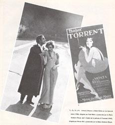 """Antonio Moreno y Greta Garbo en """"La tierra de todos"""" (1926), dirigida por Fred Niblo y producida por la Metro Goldwin Mayer. Cartel de la película """"El Torrente"""" (1925), dirigida por Monta Bell y producida por la Metro Goldwin Mayer."""